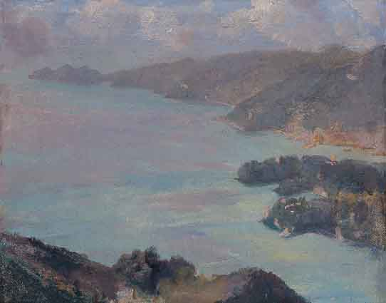 PORTOFINO ACROSS THE GOLFO TIGULLIO, SEPTEMBER 13, 1933 by Sir Gerald Festus Kelly sold for �2,158 at Whyte's Auctions