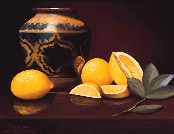 STILL LIFE WITH LEMONS AND BLUE AND WHITE VASE by Paul Kavanagh sold for �1,015 at Whyte's Auctions