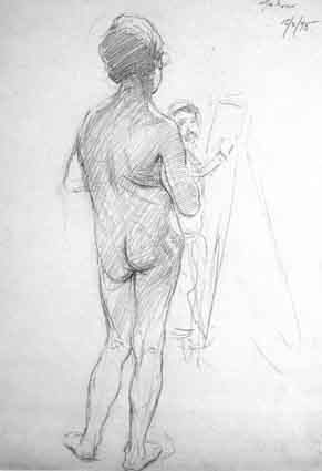 THE ARTIST SKETCHING A FEMALE NUDE by Walter Frederick Osborne sold for �1,206 at Whyte's Auctions