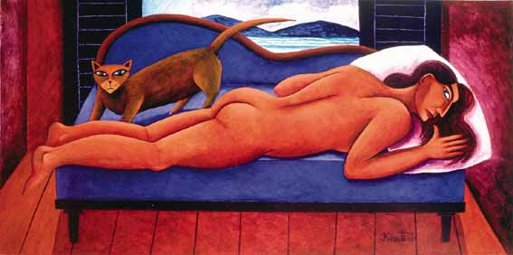 RECUMBENT NUDE WITH CAT by Graham Knuttel sold for �5,400 at Whyte's Auctions