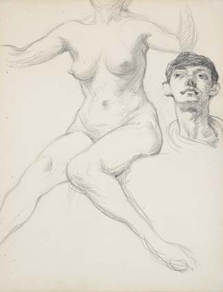 FEMALE NUDE WITH STUDY OF A MAN'S HEAD by Sir William Orpen sold for �1,500 at Whyte's Auctions