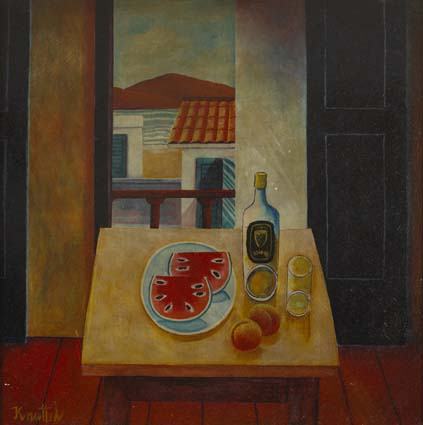 STILL LIFE WITH WATERMELON SLICES by Graham Knuttel sold for �6,000 at Whyte's Auctions