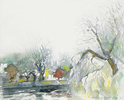 DODDER VIEW FROM BALLSBRIDGE, PROSPECT OF ST. MARY'S CHURCH, SIMMONSCOURT ROAD by Richard Kingston sold for �2,400 at Whyte's Auctions