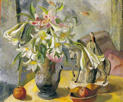 STILL LIFE WITH LILLIES AND STAFFORDSHIRE FIGURINE by Frances J. Kelly sold for �1,600 at Whyte's Auctions