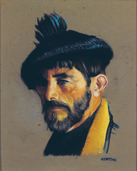 SELF PORTRAIT IN B¦IN+N HAT by Seán Keating sold for €13,500 at Whyte's Auctions