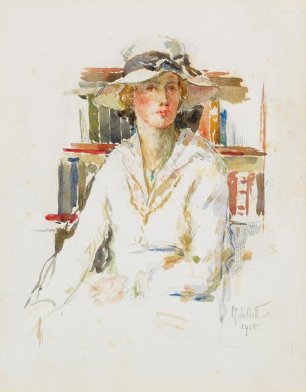 WOMAN IN SUMMER HAT by Mainie Jellett sold for �7,000 at Whyte's Auctions