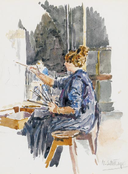 AN ARTIST AT HER EASEL IN THE LIFE ROOM AT THE WESTMINSTER SCHOOL OF ART by Mainie Jellett (1897-1944) at Whyte's Auctions