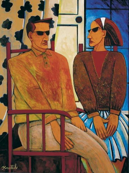 MAN AND WOMAN SEATED BEFORE A WINDOW by Graham Knuttel sold for �7,000 at Whyte's Auctions