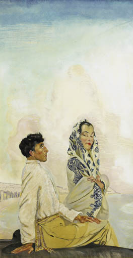 AN ARAN MAN AND HIS WIFE by Seán Keating sold for €61,000 at Whyte's Auctions