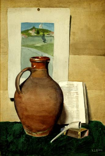 STILL LIFE WITH TERRACOTTA JUG, MEERSCHAUM PIPE AND A DUTCH LANDSCAPE by Harry Epworth Allen sold for �2,100 at Whyte's Auctions
