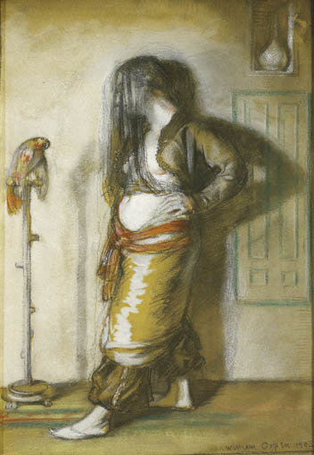 LADY WITH A PARROT by Sir William Orpen sold for �6,600 at Whyte's Auctions