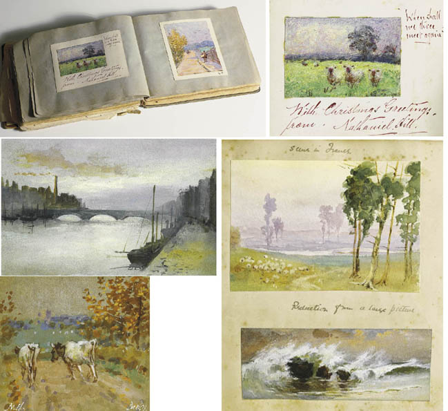 A RARE COLLECTION OF NINE WATERCOLOURS MOUNTED IN AN EDWARDIAN SCRAPBOOK by Nathaniel Hill RHA (1860-1930) at Whyte's Auctions