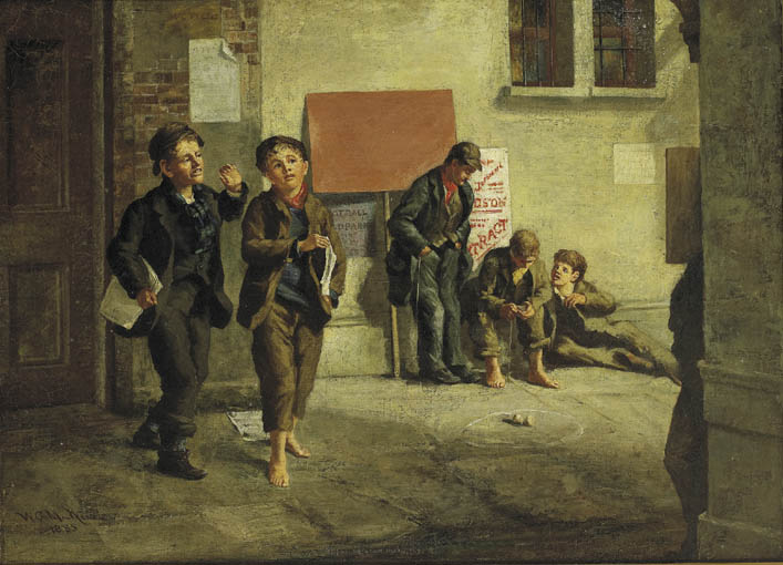 STREET SCENE WITH NEWSPAPER VENDORS AND BOYS PLAYING A GAME OF SPINNER by William Gibbes MacKenzie ARHA (1857-1924) at Whyte's Auctions