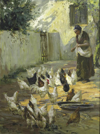 WOMAN FEEDING HENS by Frank McKelvey RHA RUA (1895-1974) at Whyte's Auctions
