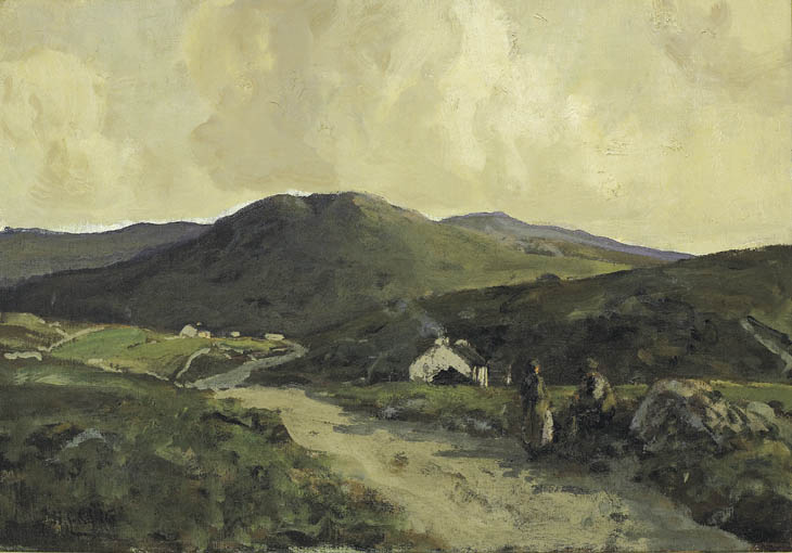 COUPLE CONVERSING BY A ROADSIDE, WITH COTTAGES BEYOND by James Humbert Craig RHA RUA (1877-1944) at Whyte's Auctions