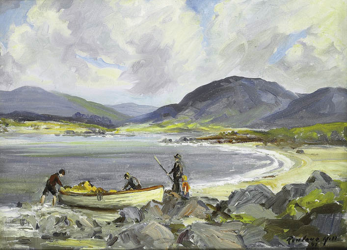 SETTING OUT TO FISH, COUNTY DONEGAL by Rowland Hill ARUA (1915-1979) at Whyte's Auctions