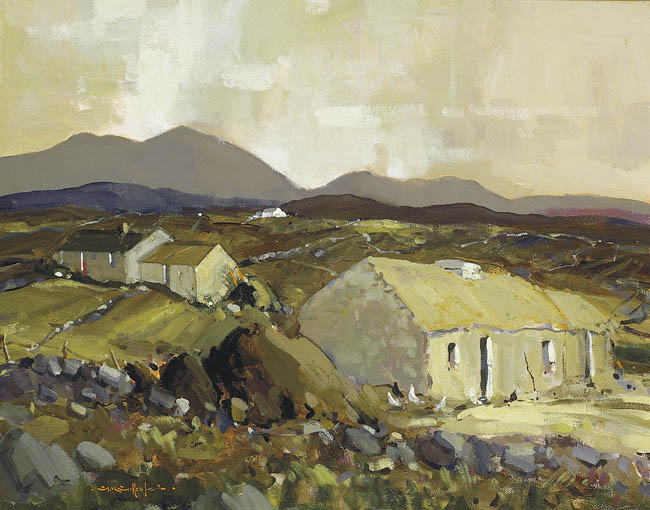 IRISH HOMESTEADS ON ROAD TO KERRYKEEL, DONEGAL by George K. Gillespie RUA (1924-1995) at Whyte's Auctions