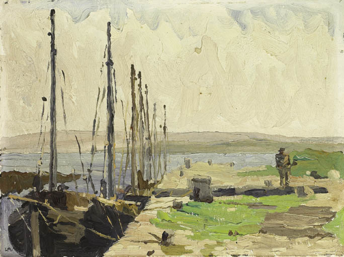 FISHING BOATS MOORED AT CARRAROE PIER, COUNTY GALWAY by Charles Vincent Lamb RHA RUA (1893-1964) at Whyte's Auctions