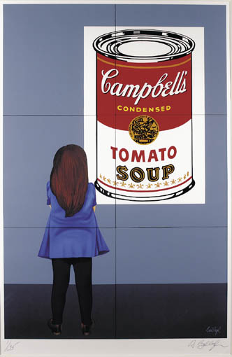GIRL LOOKING AT AN ANDY WARHOL by Robert Ballagh sold for �3,800 at Whyte's Auctions