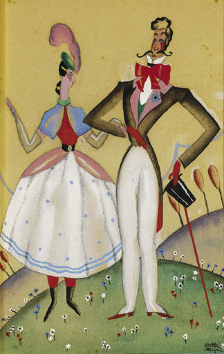 KNIGHT AND DAMSEL and A WELL DRESSED COUPLE (A PAIR) by Stella Steyn (1907-1987) (1907-1987) at Whyte's Auctions