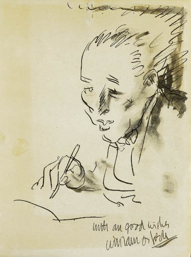 SELF-PORTRAIT OF THE ARTIST SIGNING A BOOK by Sir William Orpen sold for �3,200 at Whyte's Auctions