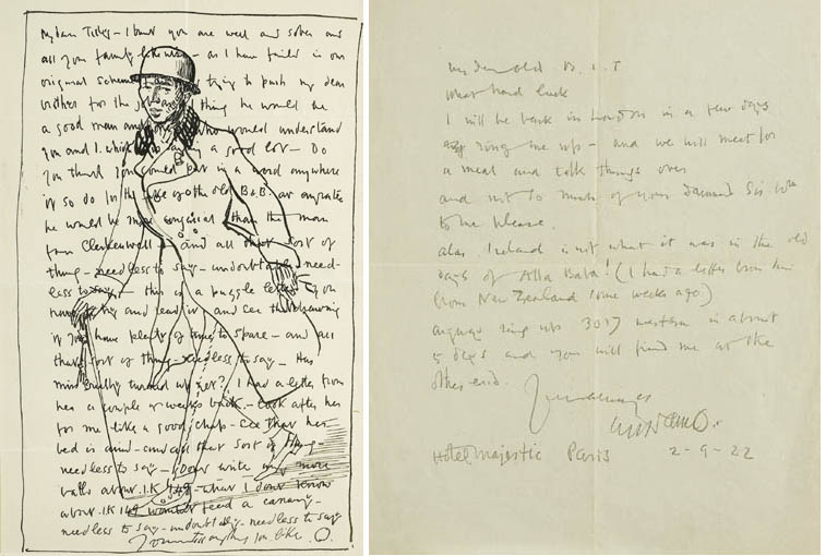 LETTER TO TILLY WITH SELF-PORTRAIT, circa 1907 by Sir William Orpen sold for �4,000 at Whyte's Auctions