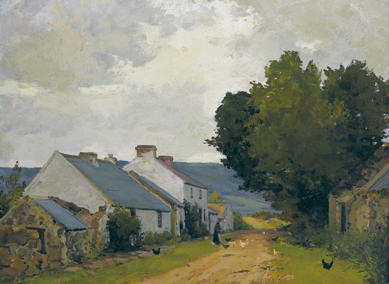 COTTAGES ON A COUNTRY LANE, COUNTY DOWN by Hans Iten sold for �13,000 at Whyte's Auctions