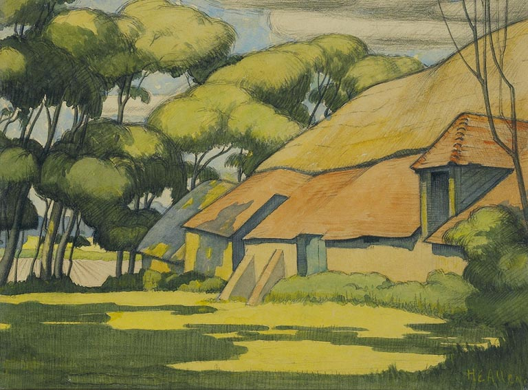 THATCHED HOUSE, TREES AND FIELDS by Harry Epworth Allen sold for �2,200 at Whyte's Auctions