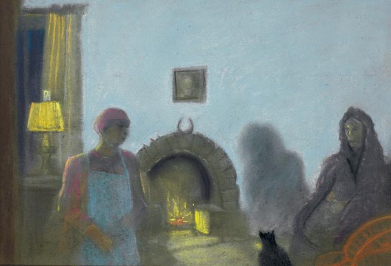 WOMAN AND MAID IN A ROOM BY OPEN FIRE by Harry Epworth Allen sold for �3,000 at Whyte's Auctions