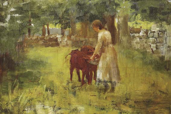 GIRL FEEDING CALVES by Walter Frederick Osborne sold for �30,000 at Whyte's Auctions