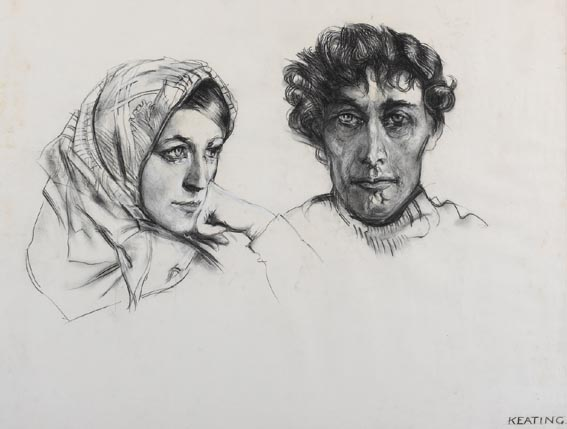 AN ARAN COUPLE, circa 1971 by Seán Keating sold for €11,000 at Whyte's Auctions