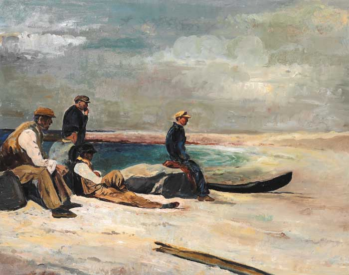 FISHERMEN WITH CURRACHS, INIS OíRR by Seán Keating sold for €82,000 at Whyte's Auctions