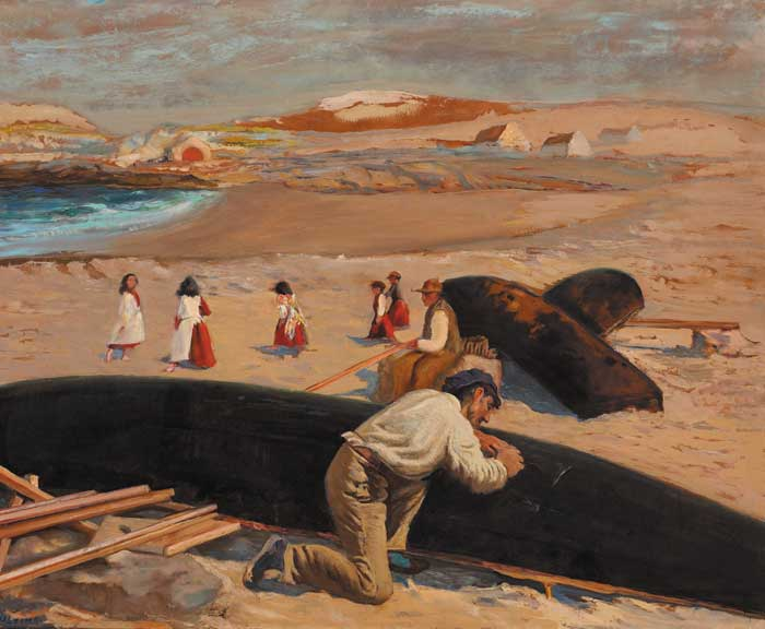 MENDING A CURRACH ON A WEST OF IRELAND BEACH by Seán Keating sold for €165,000 at Whyte's Auctions