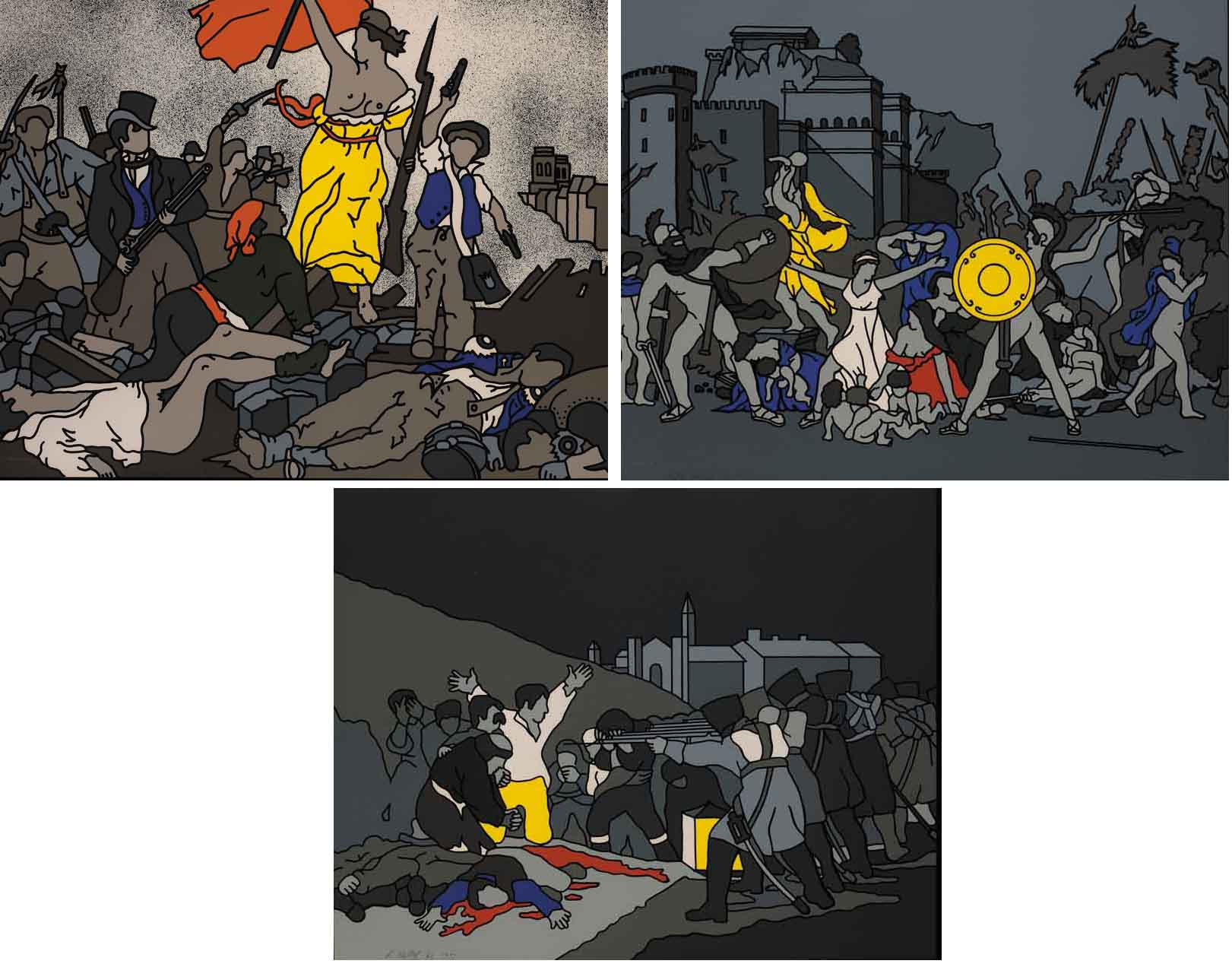 LIBERTY AT THE BARRICADES AFTER DELACROIX, THE THIRD OF MAY AFTER GOYA and THE RAPE OF THE SABINES AFTER DAVID (SET OF THREE) by Robert Ballagh sold for �5,000 at Whyte's Auctions