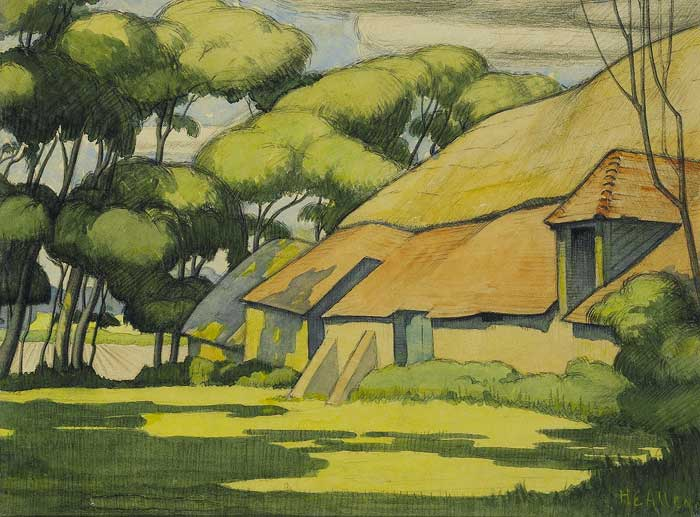 THATCHED HOUSE, TREES & FIELDS by Harry Epworth Allen sold for �2,100 at Whyte's Auctions