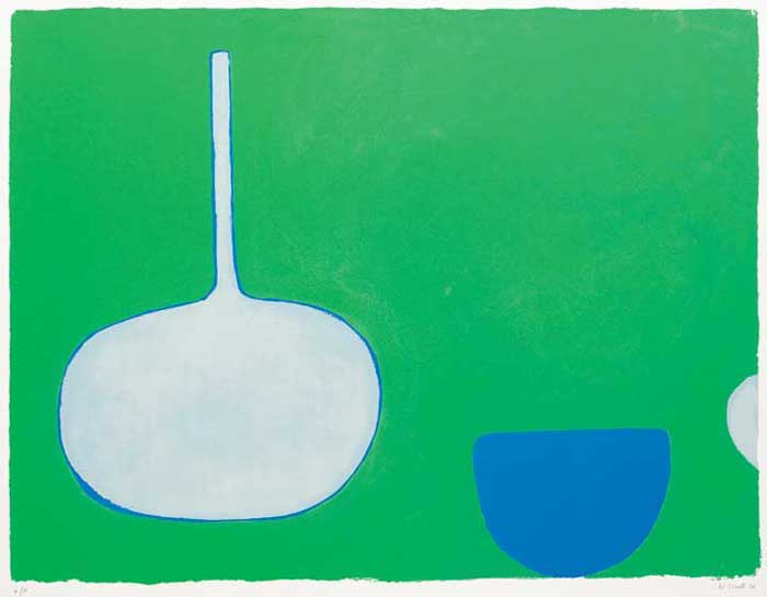 PAN AND BOWL, BLUES ON GREEN, 1970 by William Scott sold for �6,400 at Whyte's Auctions