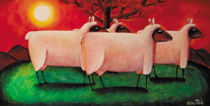 WOLVES IN SHEEP'S CLOTHING, circa 1994 by Graham Knuttel sold for �7,000 at Whyte's Auctions