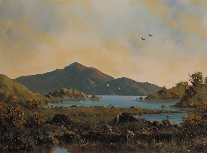 Peat diggers near tulycross connemara by david anthony overend b 1932 at