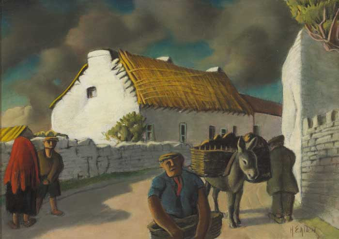 WEST OF IRELAND VILLAGE WITH DONKEY AND FIGURES by Harry Epworth Allen sold for �5,200 at Whyte's Auctions