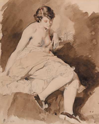 SEATED SEMI-NUDE GIRL by Sir William Orpen sold for �10,500 at Whyte's Auctions