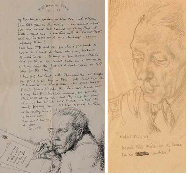 """WITHOUT PREJUDICE"" - PENCIL SKETCH OF MAJOR RALPH WALTER MAUDE and ILLUSTRATED LETTER TO MAJOR MAUD, 1920 (A PAIR) by Sir William Orpen RA RI RHA (1878-1931) RA RI RHA (1878-1931) at Whyte's Auctions"