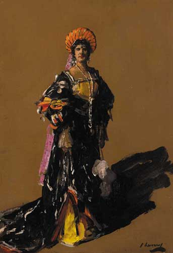 MISS FLORA LION IN PERIOD COSTUME, circa 1916 by Sir John Lavery sold for �24,000 at Whyte's Auctions