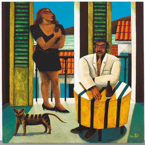 MAN, WOMAN AND CAT IN INTERIOR by Graham Knuttel sold for �12,000 at Whyte's Auctions