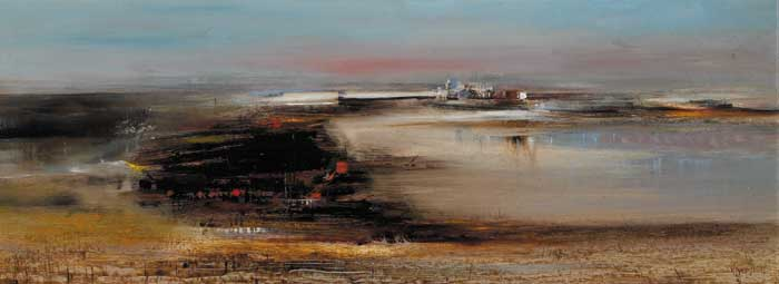 RECLAMATION IN PROGRESS, RINGSEND, DUBLIN, BEFORE ESB CHIMNEYS (1960s) by Richard Kingston sold for �7,500 at Whyte's Auctions