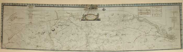 A MAP OF THE GRAND CANAL WITH THE COUNTRY ON EACH SIDE FROM THE CITY OF DUBLIN TO THE RIVER BARROW AT MONASTEREVIN, 1787 by John Killaly sold for �5,000 at Whyte's Auctions