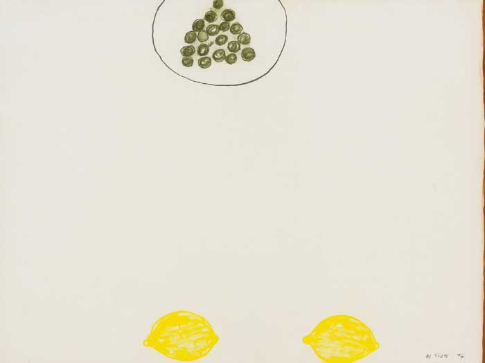 TWO LEMONS AND GRAPES, 1974 by William Scott sold for �24,000 at Whyte's Auctions