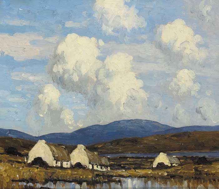 COTTAGES BY A BOG LAKE, WEST OF IRELAND, circa 1937 by Paul Henry sold for �86,000 at Whyte's Auctions