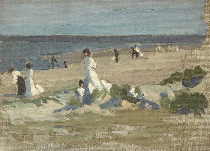 FIGURES ON A BEACH, COUNTY DUBLIN, circa 1906-10 by William John Leech sold for �15,000 at Whyte's Auctions