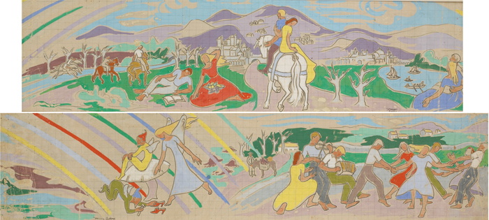 YOUNG COUPLE ON HORSEBACK HEADING TOWARDS TIR NA OIG and THE DANCERS � TWO STUDIES FOR A MURAL FOR BUTLIN�S HOLIDAY CENTRE (A PAIR) by Frances J. Kelly sold for �1,300 at Whyte's Auctions