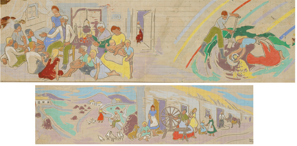 THE STORYTELLER and WOMAN WITH SPINNING WHEEL � TWO DESIGNS FOR MURAL DECORATIONS (A PAIR) by Frances J. Kelly sold for �1,300 at Whyte's Auctions
